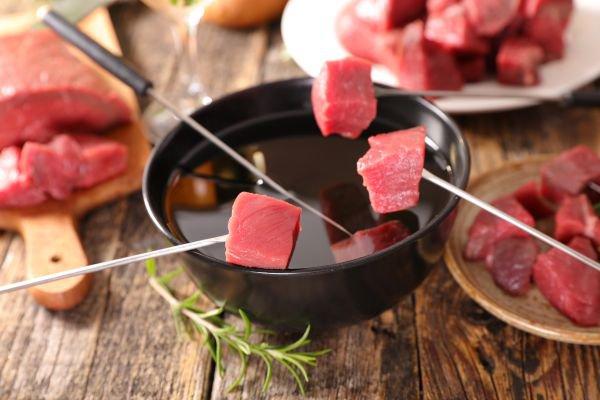 como fazer fondue - carne