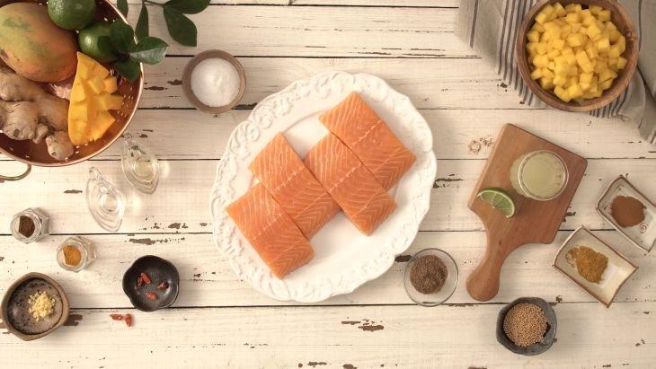 salmão com chutney de manga - especial de pescado