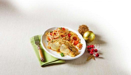 [Receita] Espaguete integral com lombo de bacalhau