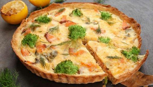 Torta de Brócolis e Salmão e uma taça de Seduce Merlot