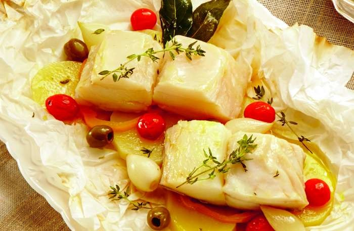 bacalhau com legumes - texto
