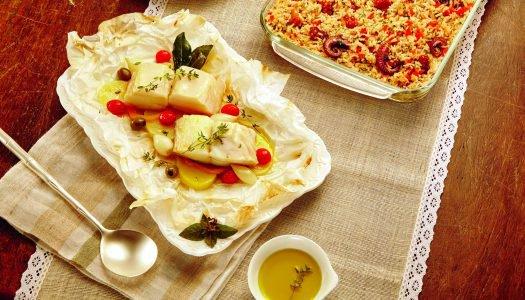 [Receita] Bacalhau com legumes no papelote