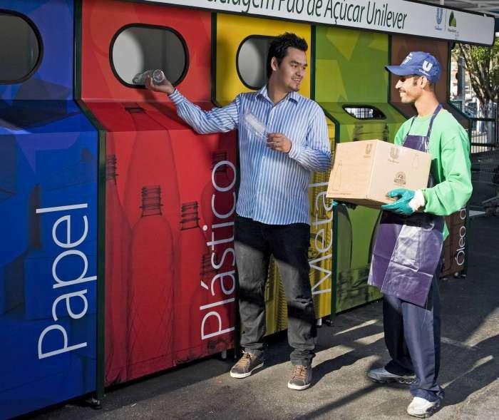 estação de reciclagem pão de açúcar unilever - texto
