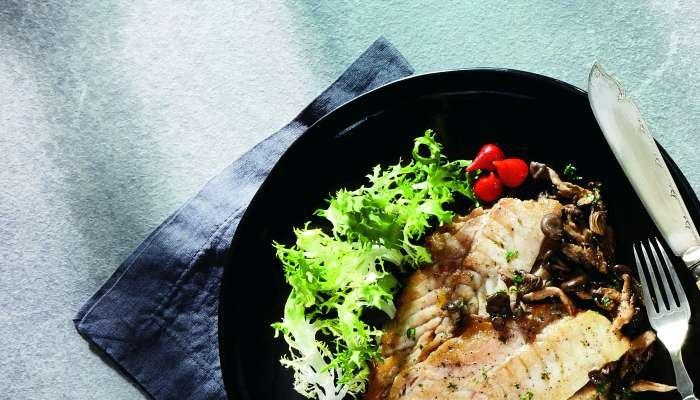 filé de pescado com shimeji - texto