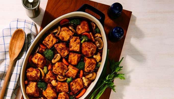 lombo suíno com legumes - texto