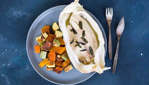[Receita] Papilote de Tilápia com Manteiga de Sálvia e Abóboras tostadas