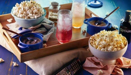 [Receita] Kit Cinema com duos de pipoca, brigadeiro de colher e soda italiana