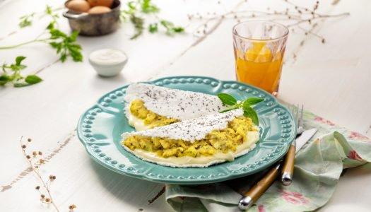 [Receita] Tapioca com chia, recheio de ovo mexido e requeijão light de fibras