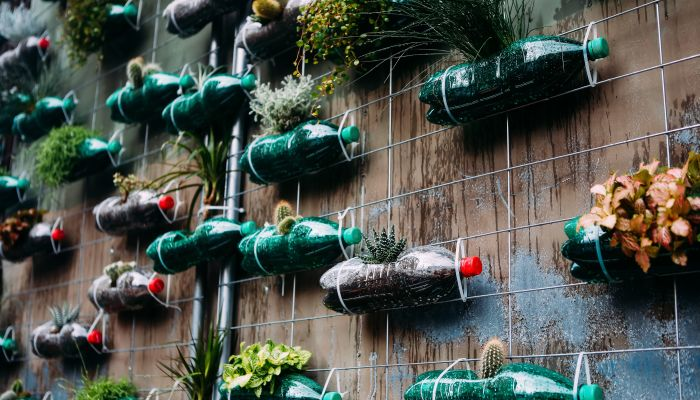 decoração sustentável plástico