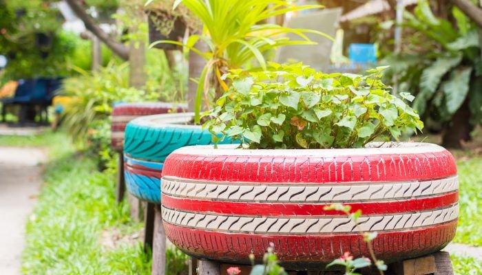 decoração sustentável pneu