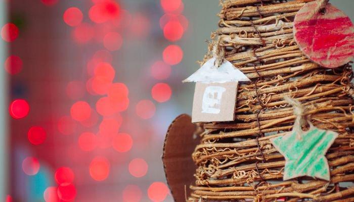 decoração de natal sustentável árvore cartão