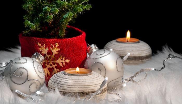 decoração de natal sustentável arranjo vela