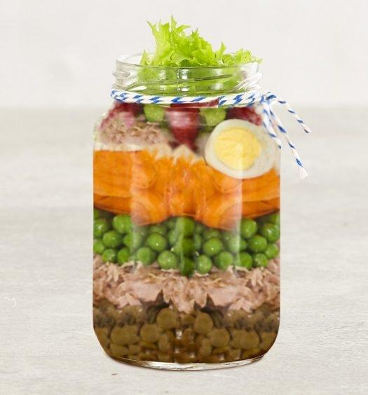Salada com lentilha no pote receita