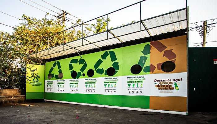 estações de reciclagem resíduos